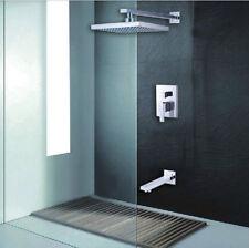 "Wall Mounted Chrome 8"" Bathroom Rainfall Shower Faucet Bath Tub Mixer Tap"