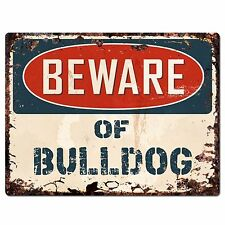 PP1348 Beware of BULLDOG Plate Rustic Chic Sign Home Room Store Decor Gift
