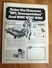 1969 Ford Mustang  Ad  NFL Super Bowl Sweepstakes