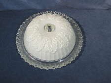 Glass Light Shade Vintage Art Deco Ceiling Chandelier Clear White Floral Beaded