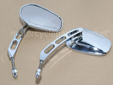 Chrome Universal Deep Edge Cut Rearview Side Mirrors For Harley Davidson Cruiser