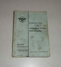 Teilekatalog / Ersatzteilliste Hanomag Radschlepper R12 Stand 10/1956