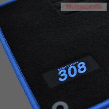 Velours Logo Fußmatten für Peugeot 308 + 308 SW ab Bj.09/2007 - 2014 blau