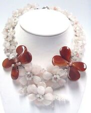 LARGE PINK FLOWER GEMSTONE NECKLACE ABSTRACT UNIQUE STATEMENT JEWELRY #NAK-1