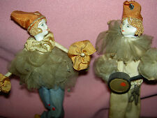 """PAIR French antique bisque head """"Pierrot"""" & """"Pierette"""" boudoir dresser bed dolls"""