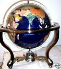 220mm gemstone world globe bronze stand earth map spin AA004