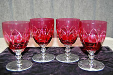 Vintage Set of 4 Ruby Red Crystal Water Goblets, Cased Cut to Clear -  S3778