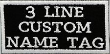 3 Lines Custom Embroidered  Name Tag Patch Motorcycle Biker