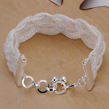 New Women 925 Sterling Silver Plated Charm Chain Mesh Bracelet Bangle Jewelry