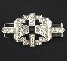 Vintage Signed Givenchy Pin Art Deco Style Brooch Silver Baguettes PB1