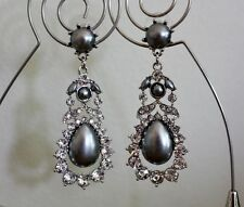 New White Gold Grey Pearl Crystal Diamante Statement Dangle Drop Earrings UK