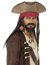 Pirate Hat Brown with Dreadlocks - Suede Effect Pirates Hat - One Size - 33626