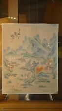 ANTIQUE CHINESE HAND PAINTED MOUNTAIN RIVER VILLAGE FARMERS LANDSCAPE PAINTING