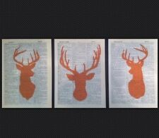 3 X Stag Deer Heads Prints Vintage 1933 Dictionary Page Wall Art Pictures Orange