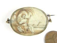 ANTIQUE ENGLISH GEORGIAN PERIOD GOLD SEPIA MINIATURE & HAIRWORK MOURNING BROOCH