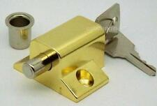 BRASS PLATED KEYED INSURANCE* LOCK FOR IDEAL FOR SLIDING PATIO DOORS & WINDOWS
