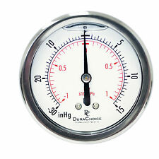 "2-1/2"" Oil Filled Vacuum Pressure Gauge - SS/Br 1/4"" NPT Center Back -30HG/15PSI"