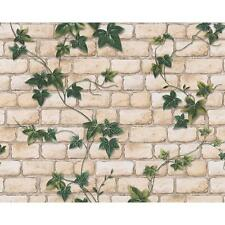 NEW AS CREATION WHITE BRICK PATTERN IVY VINE MOTIF TEXTURED WALLPAPER 980434