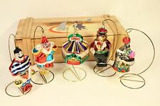 Vtg Polonaise Circus Band Set Blown Glass Xmas Tree Ornament Poland w/ Wood Box