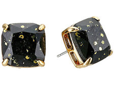KATE SPADE 14K Black & Gold Multi Glitter Square Stud Post Earrings NEW