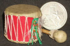 Mini Southwest Native American Indian Style Leather Drum 1:12 Instrument #4247