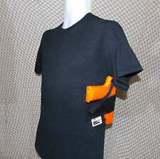 GUN CONCEALMENT SHOULDER HOLSTER BUILT INTO A T-SHIRT - BLACK - SIZES S - 5XL