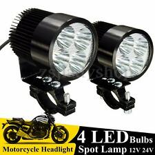 2pcs Black Motorcycle Car Truck 12W 4 LED 1000LM Day Light Spotlight w/ Clamp