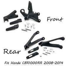 Black Front and rear Rider Foot Peg Brackets Fit For Honda Cbr1000Rr 2008-2011