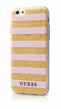 Genuine GUESS Stripes 3D EFFECT Silver Case Cover for iPhone 7  Pink Gold
