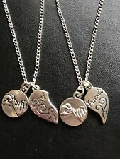 2 BEST FRIENDS HEART CHARM NECKLACE with Pinky Promise Charm Silver Plated Chain