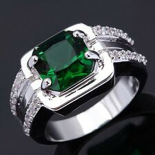 Fashion Nobby Jewelry Size 10 Emerald 18K Gold Filled Rings For Mens Engagement
