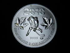 2010 1oz OLYMPIC SILVER MAPLE LEAF COIN HOCKEY ( 2010 VANCOUVER OLYMPICS) CANADA