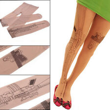 Women Sexy Tattoo Printed Socks Transparent Tights Stocking Pantyhose Affordable