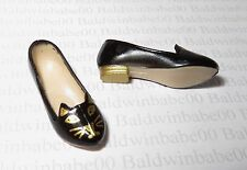 * SHOES ~ STANDARD BARBIE DOLL CHARLOTTE OLYMPIA BLACK GOLD KITTY CAT FLATS