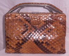 Vintage Art Deco Natural Python Skin 1940's Clutch Bag-Chrome Trim....