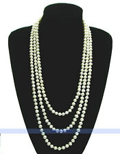 "LONG 84"" 7mm Genuine Freshwater White Pearl Necklace 