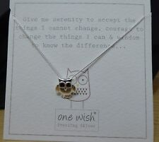 925 STERLING SILVER ONE WISH VALENTINE OWL SERENITY NECKLACE - FREE P&P