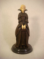 BRONZE SCULPTURE AFTER CHIPARUS WOMAN IN DRESS WITH BOOK