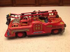 Vintage Tin Japan Fire Truck W/ Ladder Bell Ringer Tin Litho TN Nomura Brand