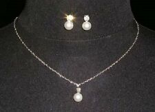 Classic Simple Pearl & Rhinestone Diamante Crystal Necklace & Earrings Set