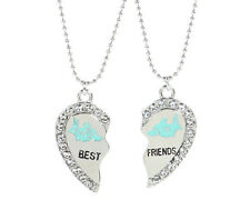 NEW BEST FRIEND Shark Heart Silver Tone 2 Pendants Necklace BFF Friendship