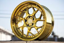 19x9.5/10.5 Aodhan 5x114.3 Ds1 +22 Gold Vaccum Rims Fits Mustang 350Z 370Z