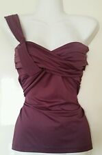 MORGAN Dusky Purple Grecian Drape Top One Sleeve Shoulder Size Small