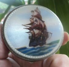 Vintage Sterling Silver & Enamel Sailing Ship / Galleon Compact  -  1929 London