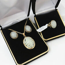 *NYJEWEL 14k Solid Gold New He Tian A Jade 壽 Necklace Ring Earrings $7200