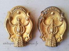 Superbe ancienne paire éléments frontons décoratifs laiton doré déco tringle '2