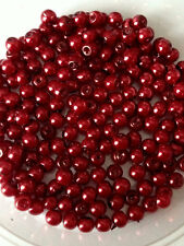 4mm Glass faux Pearls strand - Ruby Red (over 200 beads) jewellery making, craft