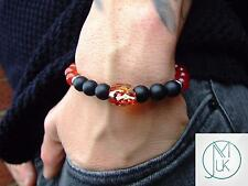 Men's Carnelian/Onyx Skull Bracelet with Swarovski Red Crystal 7inch Elasticated