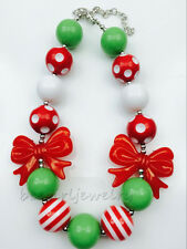 Red Knot Christmas Chunky Bubblegum Girl necklace kids Baby