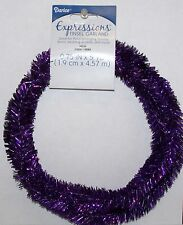 "Purple Wired Tinsel Garland 3/4"" x 5 Yards Floral, Holiday Decor, Wedding"